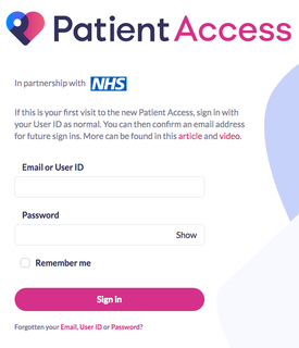 Patient Access sign in screen